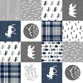 Navy and Grey Fearfully and Wonderfully Made  - Patchwork woodland quilt top  (90)