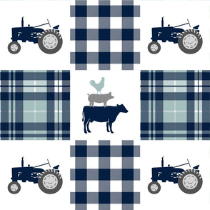 farm patchwork - navy and dusty blue - animal stack and tractors C18BS