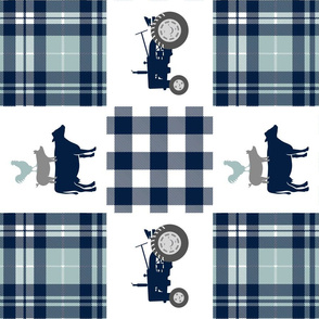 farm patchwork - navy and dusty blue - animal stack and tractors (90) C18BS
