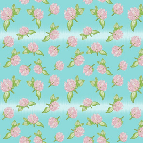 Delicate Clovers Muted Turquoise BG