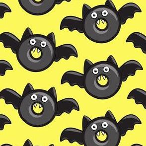 bat - vampire - halloween donuts on yellow