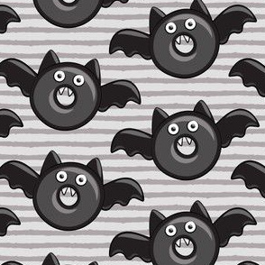 bat - vampire - halloween donuts on two tone grey stripes