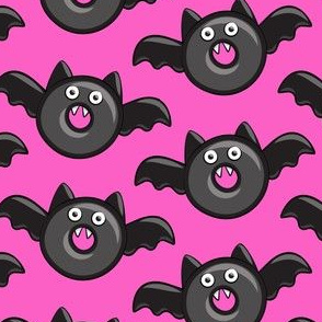bat - vampire - halloween donuts on pink