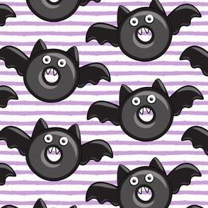 bat - vampire - halloween donuts on light purple stripes