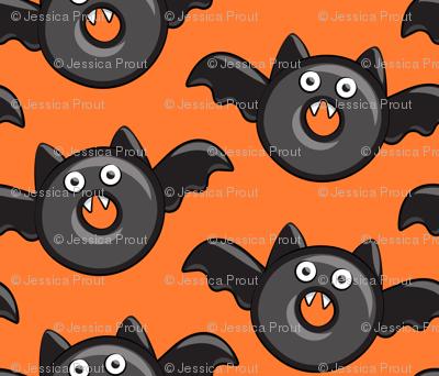 bat - vampire - halloween donuts on orange