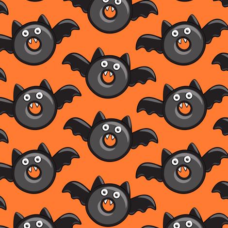 bat - vampire - halloween donuts on orange fabric by littlearrowdesign on Spoonflower - custom fabric