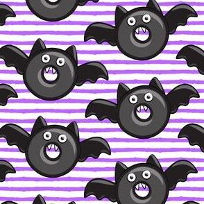 bat - vampire - halloween donuts on purple stripes