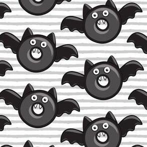 bat - vampire - halloween donuts on grey stripes