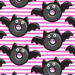 bat - vampire - halloween donuts on pink stripes