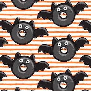bat - vampire - halloween donuts on orange stripes