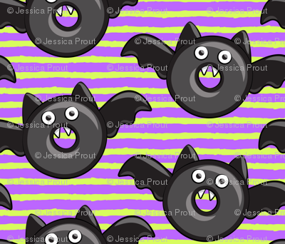 bat - vampire - halloween donuts on purple and green stripes
