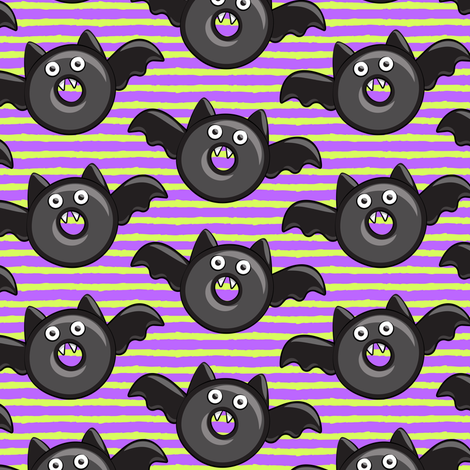 bat - vampire - halloween donuts on purple and green stripes fabric by littlearrowdesign on Spoonflower - custom fabric