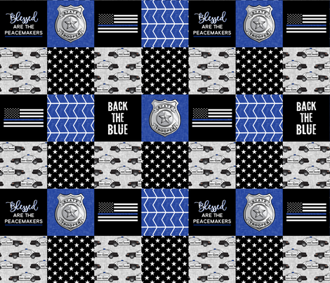 state trooper patchwork fabric - thin blue line - back the blue - blue chevron fabric by littlearrowdesign on Spoonflower - custom fabric