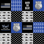 state trooper patchwork fabric - thin blue line - back the blue - blue chevron