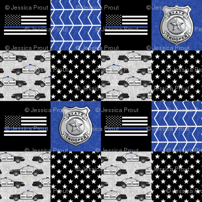 state trooper patchwork fabric - thin blue line - blue chevron