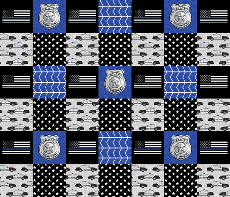 state trooper patchwork fabric - thin blue line - blue chevron fabric by littlearrowdesign on Spoonflower - custom fabric