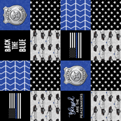 state trooper patchwork fabric - thin blue line - back the blue - blue chevron (90)