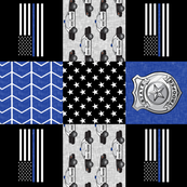 state trooper patchwork fabric - thin blue line - blue chevron (90)