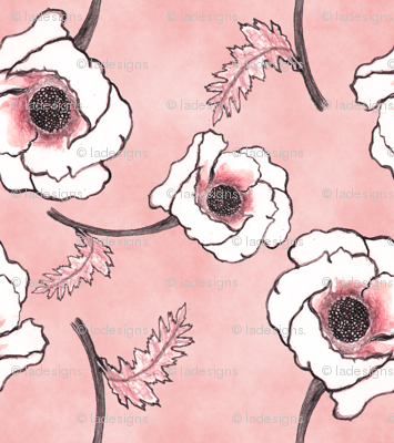 Line-work Poppy Dusty Rose Background