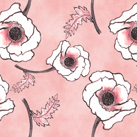 Line-work Poppy Dusty Rose Background fabric by iadesigns on Spoonflower - custom fabric