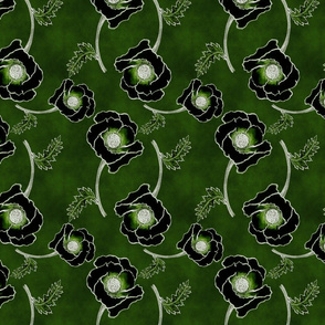 Line-work Poppy Inverted  Emerald Green BG