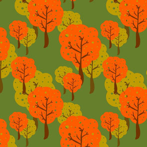 retro trees orange and green