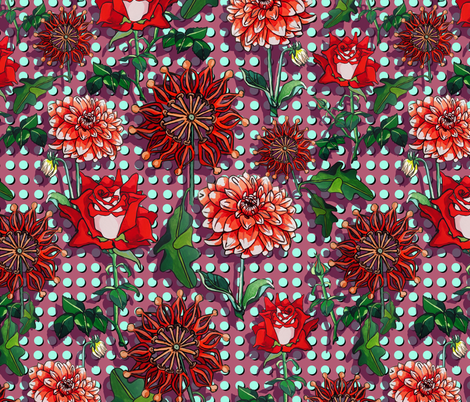 Spotty dot floral fabric by ariellelouise on Spoonflower - custom fabric