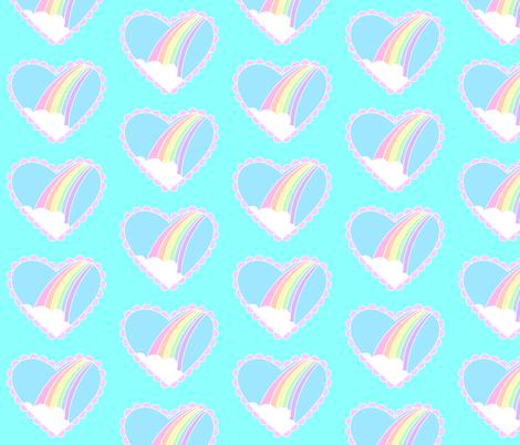 Rainbow Heart- White Ocean Blue fabric by katfujihara on Spoonflower - custom fabric