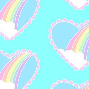Rainbow Heart- White Ocean Blue