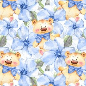 Blue flowers and Teddy