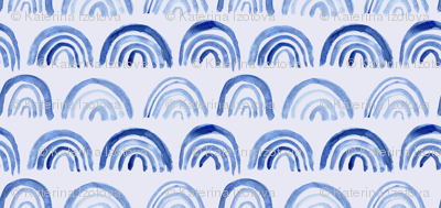 Watercolor archs on blue    abstract painted pattern