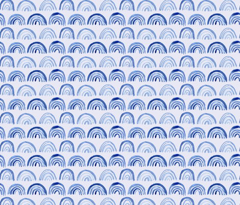 Watercolor archs on blue    abstract painted pattern fabric by katerinaizotova on Spoonflower - custom fabric