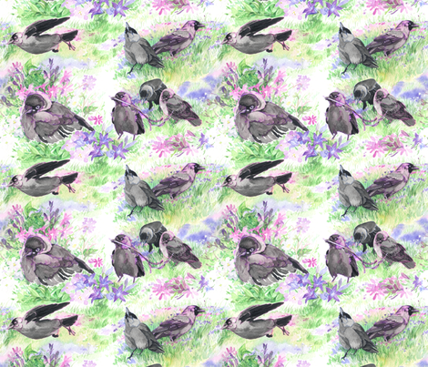 Jackdaw Floral  fabric by infamous_sphere_ on Spoonflower - custom fabric