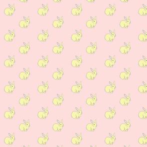 Bunny Rabbits Galore Pink & Yellow