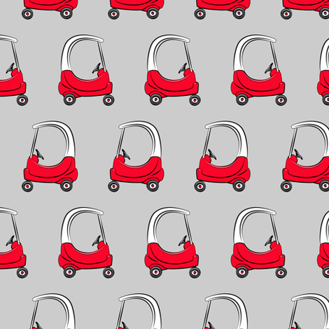kids car on grey fabric by littlearrowdesign on Spoonflower - custom fabric