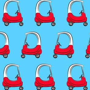 kids car on solid blue