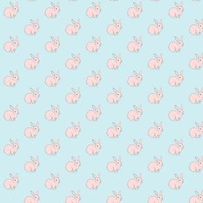 Bunny Rabbits Galore Blue & Pink