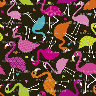 Flamingo summer colorful tropical birds retro girls print brown SMALL