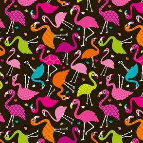 Flamingo summer colorful tropical birds retro girls print brown SMALL