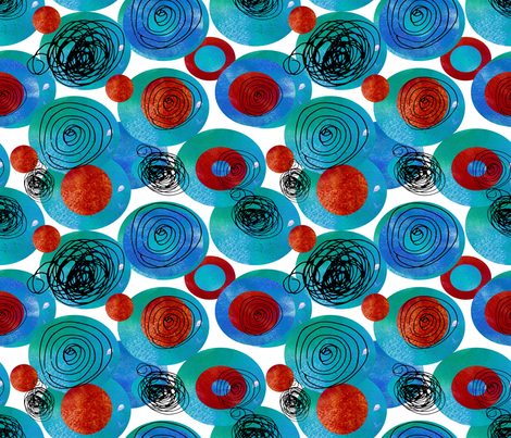 Watercolor blue and red circles and ink doodles fabric by trishamcmillan on Spoonflower - custom fabric