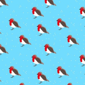 Winter wonderland red robin birds in snow blue red boys  SMALL