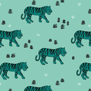 Jungle love tiger safari garden sweet hand drawn tigers pattern teal black and white