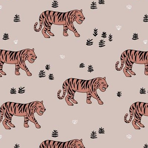 Jungle love tiger safari garden sweet hand drawn tigers pattern beige orange copper
