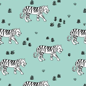 Jungle love tiger safari garden sweet hand drawn tigers pattern mint black and white