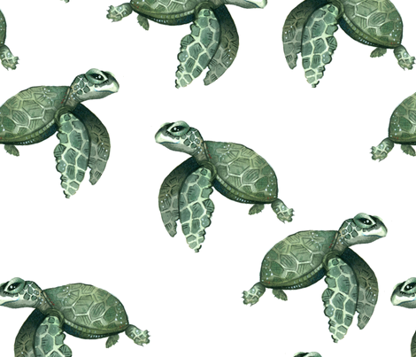 Quiet Sea Turtles - Larger Scale fabric by taraput on Spoonflower - custom fabric