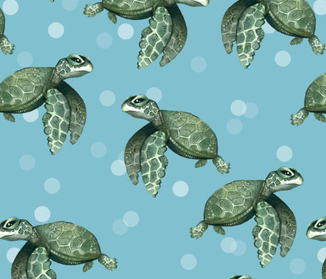 Quiet Sea Turtles on Blue with Bubbles - Larger Scale fabric by taraput on Spoonflower - custom fabric