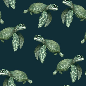 Quiet Sea Turtles on Teal - Larger Scale