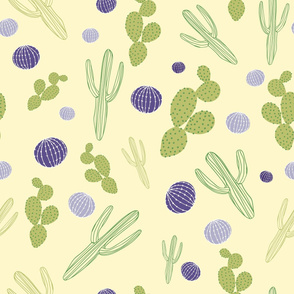 Pretty Tossed Cactus Pattern