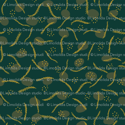 Gold and Dark Green Christmas Branches