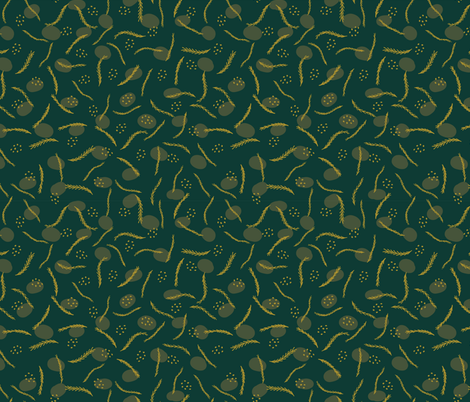 Gold and Dark Green Christmas Branches fabric by limolida on Spoonflower - custom fabric